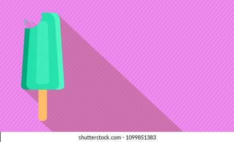 ice cream or popsicle with long shadow, background with oblique lines, pastel colors, concept of summer, copy space, flat cartoon style