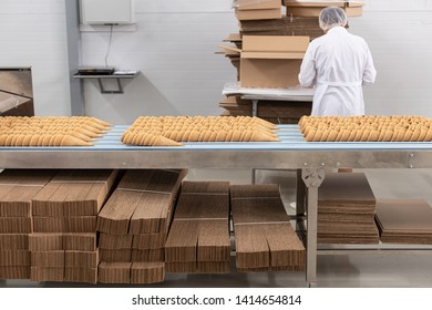 Ice cream production line. Conveyor production. Production of wafer cups for ice cream. Selective focus.
