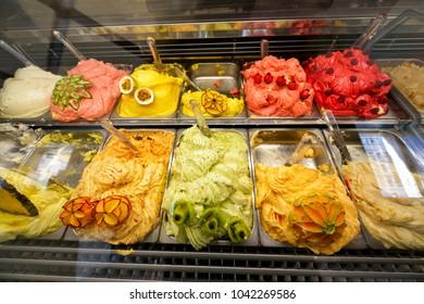 Ice cream in Rome, Italy. Italian gelateria.