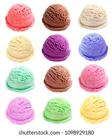 Ice cream scoops or balls multiple or different color. Isolated on white background.