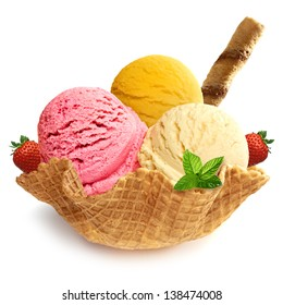 Ice cream scoops / ice cream in bowl / strawberry ice cream