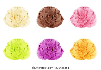 Ice cream scoops on white background with clipping path.