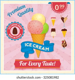 Ice cream shop advertisement vintage poster with three different taste scoops in waffle cone abstract  illustration