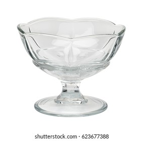 Ice cream sundae dish, sundae glass,  or dessert cup isolated on white background including clipping path