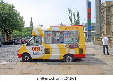 Ice Cream Van Outside Liverpool Museum UK