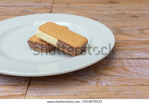 Ice cream vanilla and chocolate sandwich