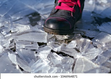 ice crushed with a shoe