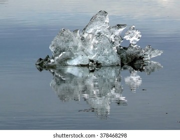 Ice crystal mirroring in a glacial lagoon, Iceland