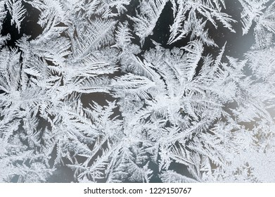 Ice crystals on window glass