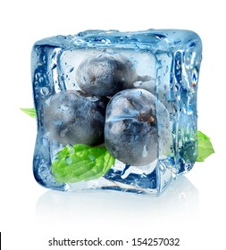 Ice cube and blueberry isolated on a white background