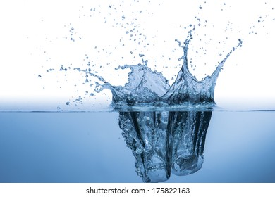Ice Cube Drop into water to make water splash