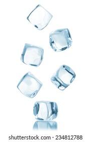 Ice cube isolated on white background.