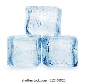 Ice cube on white background. Clipping Path