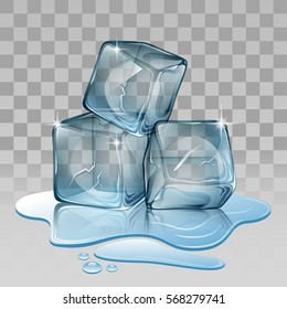 Ice cube, set with transparency