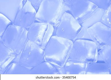 ice cube stack in blue background