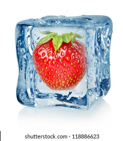 Ice cube and strawberry isolated on a white background