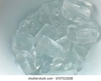Ice cube or ice tube in the container