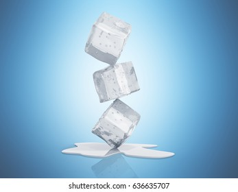 ice cubes 3d render on blue background
