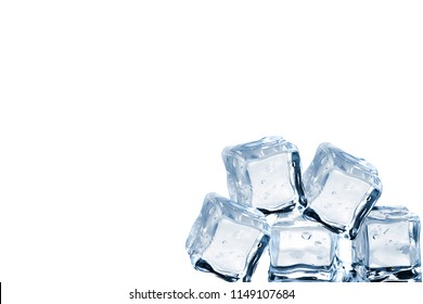 Ice cubes against white isolated background