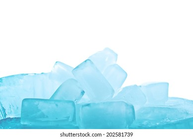 Ice cubes as background.Crushed ice close up.