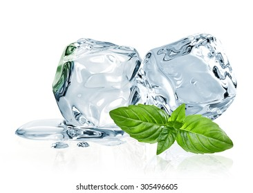 Ice cubes and basil leaves isolated on white background