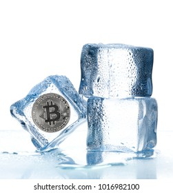 ice cubes with bitcoin inside