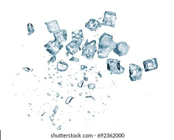 Ice cubes with drops explosion