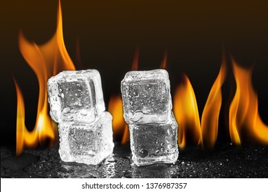 ice cubes flame fire background.
