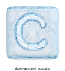 Ice cubes Font. Letter C