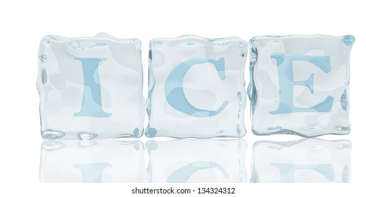 ice cubes  with fonts