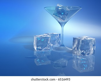 Ice cubes a glass and water stain on blue background - 3d render