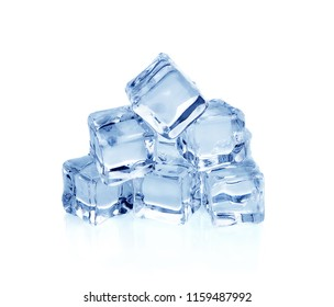 Ice cubes isolated on a white background.