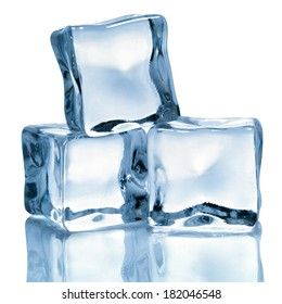 Ice cubes isolated on white background. Clipping Path