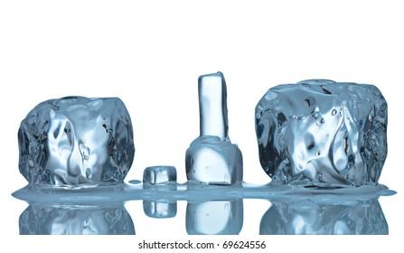 ice cubes isolated on white background