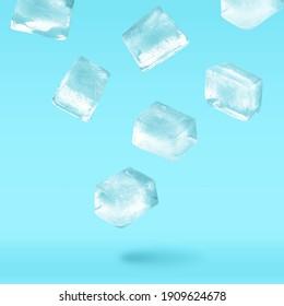 Ice cubes levitating on light blue background