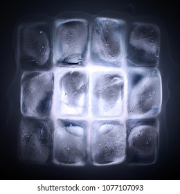 ice cubes on a black background