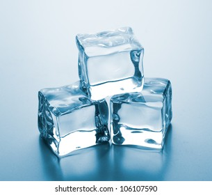 ice cubes on glass table.