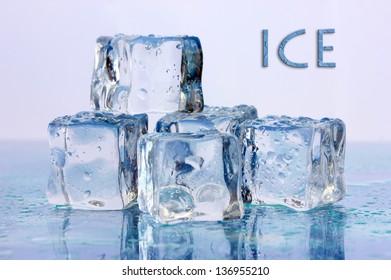 Ice cubes on light background