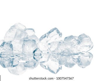 Ice cubes on reflective surface. Mirror reflection. Clipping path included.