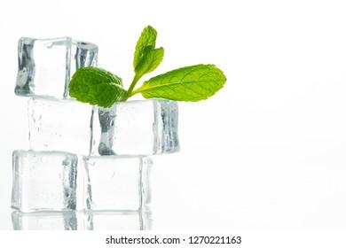Ice cubes on white background