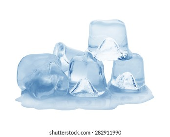 ice cubes on white background. Clipping pats.