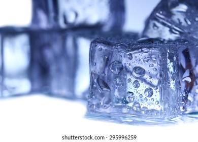 Ice cubes on white background.