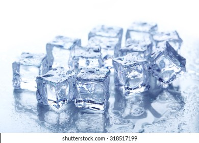 Ice cubes on white background