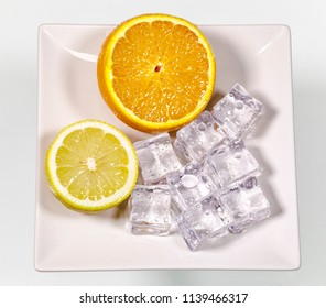 ice cubes with orange and limes, drinks supplement