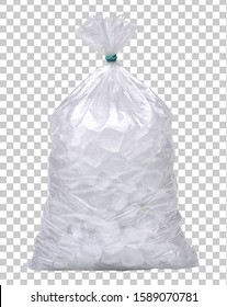 Ice cubes in plastic bag, bagged ice or packaged ice mock up or mockup  on isolated transparent  background including clipping path.