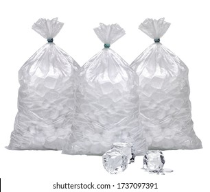 Ice cubes in plastic bags, bagged ice or packaged ice mockup or mock up template isolated on white background including clipping path.
