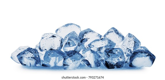 Ice cubes with water drops isolated on white background