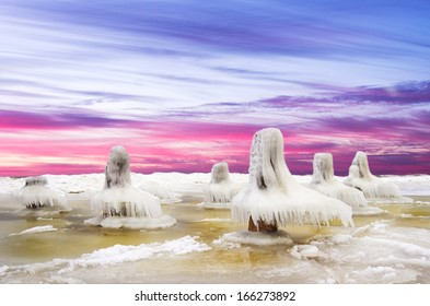 Ice desert.Baltic Sea coast in winter.Lithuania