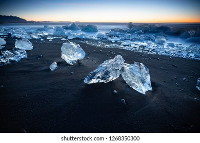 Ice in diamond beach, just in front of jokulsarlon lake, Iceland