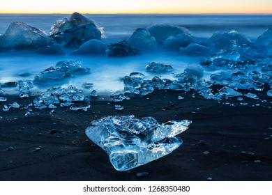 Ice in diamond beach, just in front of jokulsarlon lake, Iceland